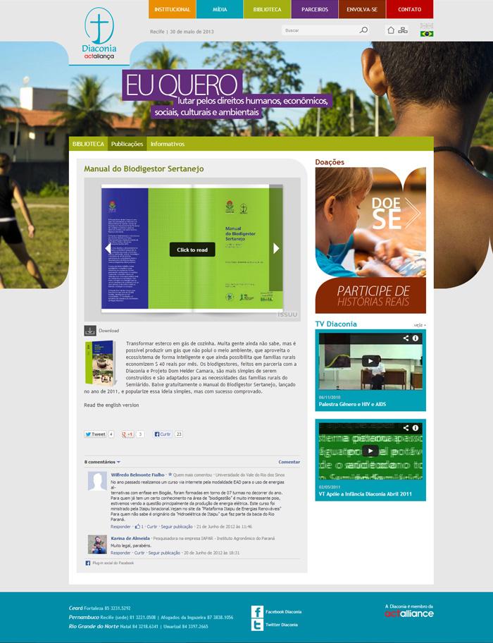 Biblioteca | Página interna da publicação, contendo aplicativo para visualização na tela, opção para download e comentários do facebook