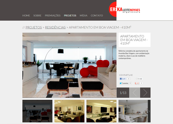 Portfolio de projetos de arquitetura (descrição, galeria de fotos e opções de compartilhamento)