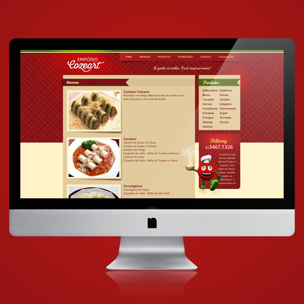 Cardápio digital no site