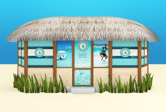 Projeto de sinalização e adesivação quiosque Náutica | Salinas do Maragogi Resort